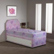 CHILDREN'S SINGLE PRINCESS DIVAN BED WITH 7 INCH SEMI ORTHOPEDIC MATTRESS AND SLIDE STORAGE PLUS HEADBOARD £120.00