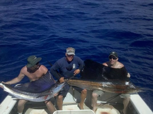 Deep sea fishing kauai sail fish double contack yelp for Fishing in kauai