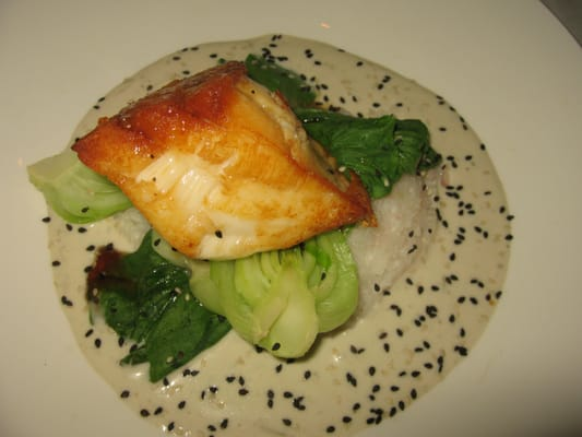 Honey-soy glazed Chilean sea bass w/ sticky rice, baby bok choy ...