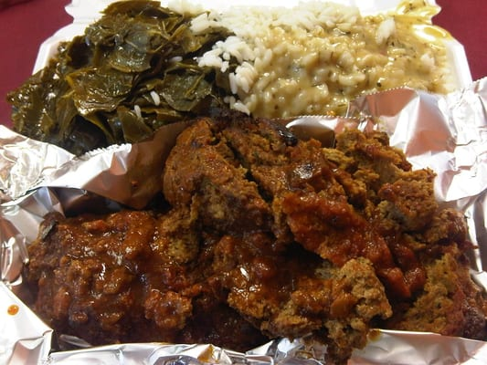 turkey meatloaf, collard greens, rice and gravy. | Yelp