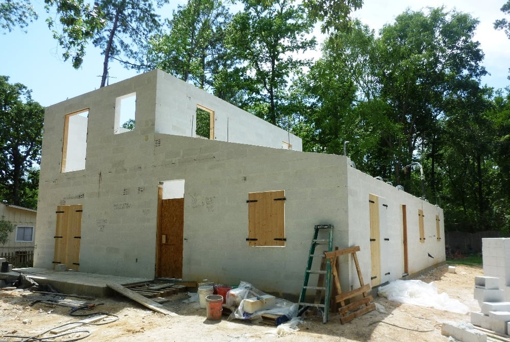 Autoclave Aerated Concrete Block Home Under Construction