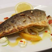 Wild Sea-bass with orange chilli, grapefruit and fennel salad.