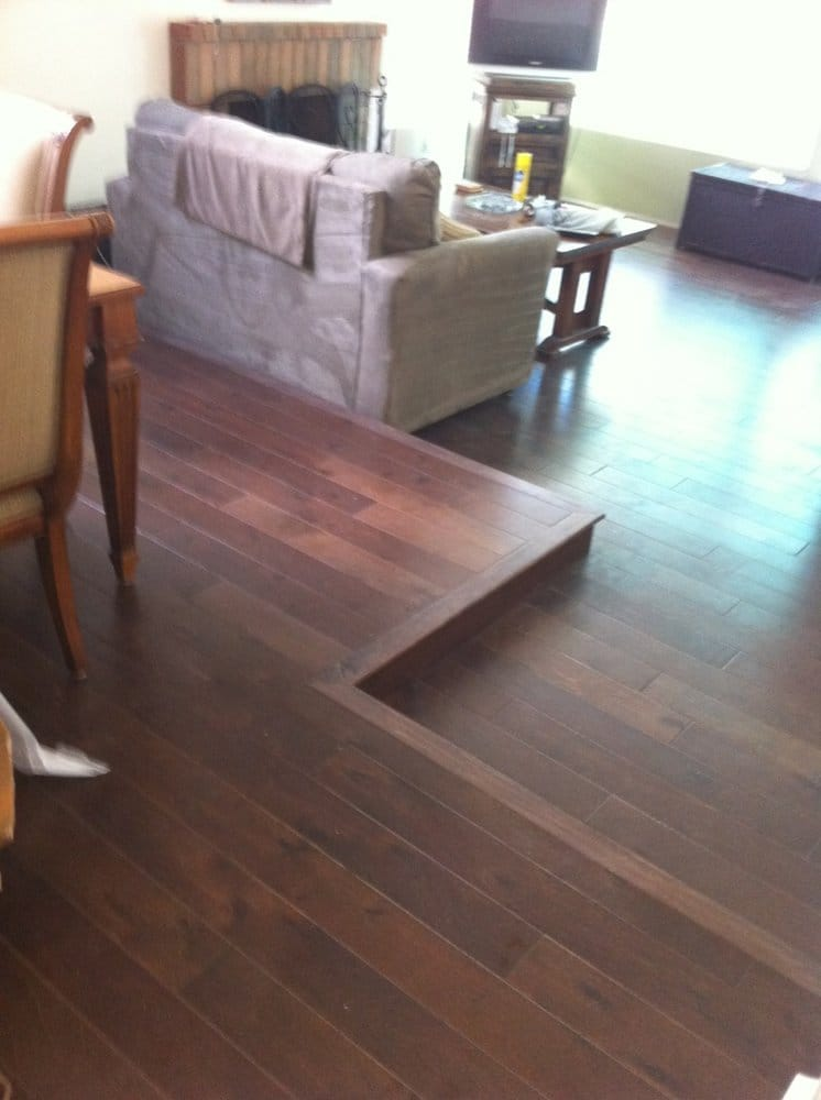 New Wood Floor W Sunken Living Room Transition Yelp