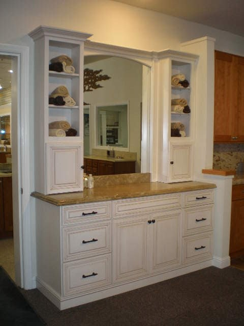 Destin bathroom vanity by dynasty opaque pearl paint for Bathroom cabinets yelp