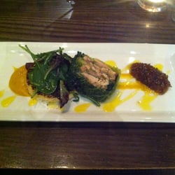 Starter from the set menu - amazing! Chicken wrapped in cabbage with sweet potato purée and chilli jam