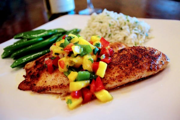Lightly Blackened Tilapia with Hatch Chile & Mango Salsa | Yelp