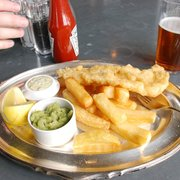 Real fish and chips, and a half drunk beer...cheers!