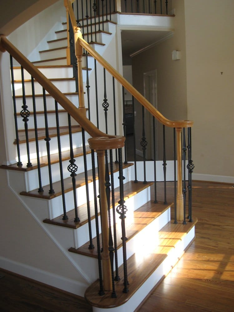 New Hardwood staircase and wrought iron balusters ...