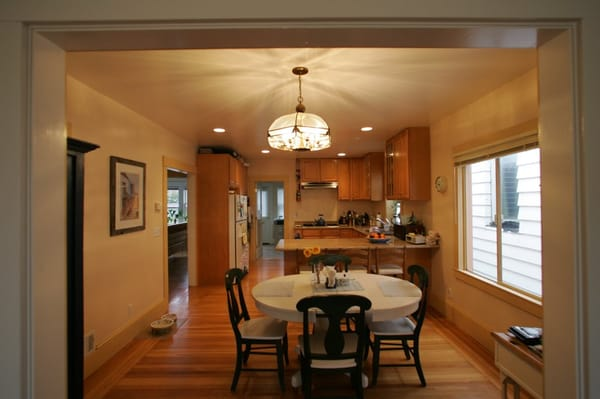 This Is A Kitchen And Dining Room In The Sunset Converted