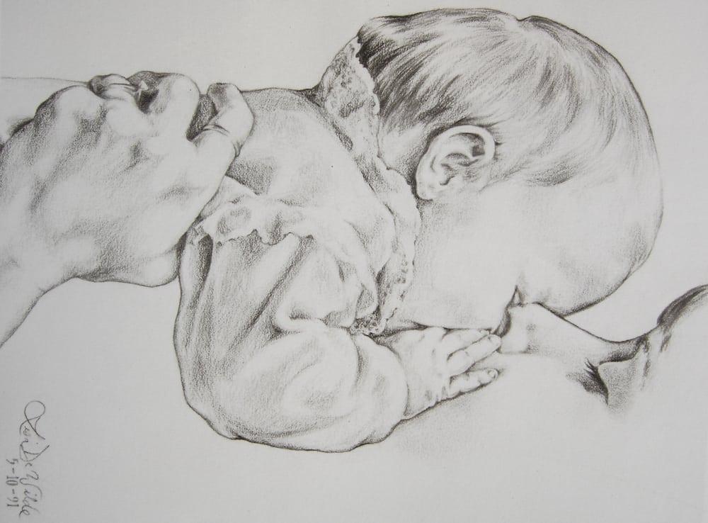 Mom Kisses Baby - pencil sketch   Yelp