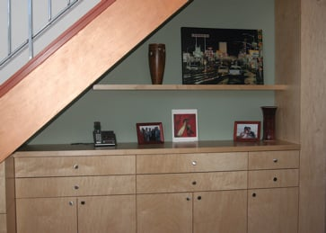 Cabinets Under The Stair Note The Floating Shelf That