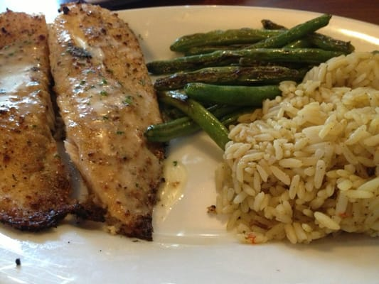 Herb Crusted Tilapia With Sides Grilled Green Beans And