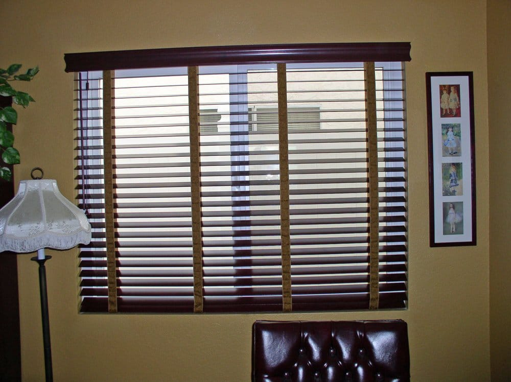 Elegant Stained Wood Blinds With Decorative Cloth Tapes