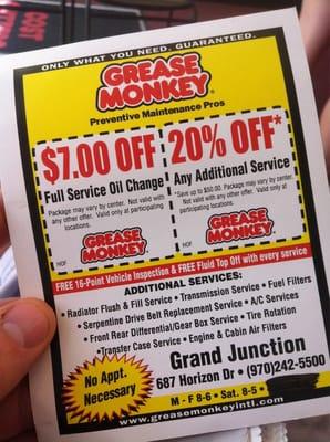 grease monkey coupon