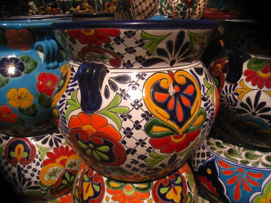 Mexican Talavera Pottery Plant Stands Wrought Iron Benches