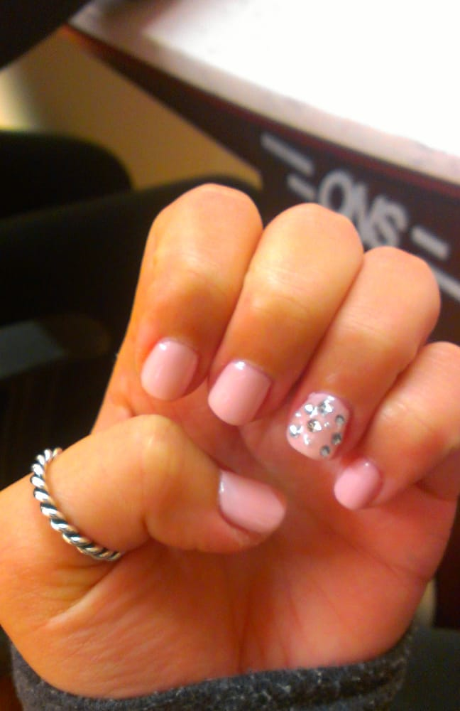 Baby pink gel mani w/accent nail | Yelp
